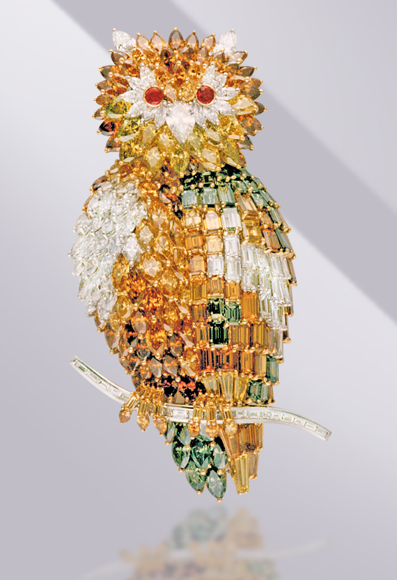 gold and diamonds owl